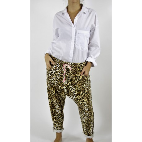 PANTALON JOGGING ANIMAL PRINT MARRON